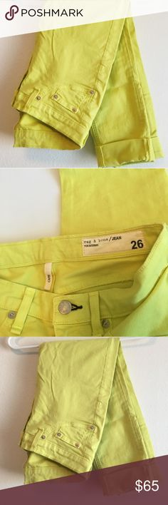 Bright Yellow Jeans Rolled capris. Like new! rag & bone Jeans