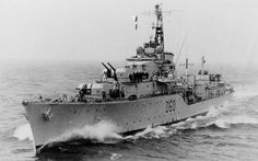 HMS Sluys (D60) A battle class destroyer, launched February 1945, and commissioned September 1946.