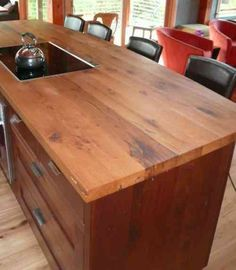 I must have this fabulous wood plank countertop - stunning ...