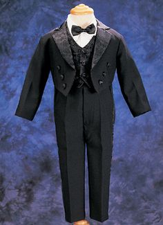 Baby Boy's 5 pc White or Black Tuxedo with Tails - size 3M to 18M