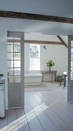 12th and White: {Home Tour} Nancy Fishelson's Renovated Cottage. grey floor painted in BM Thunder (?)