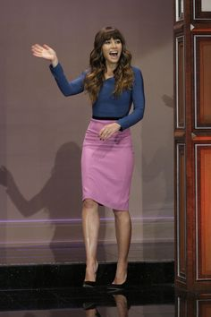 Love the mauve pencil skirt and blue top.