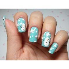 snowman winter nails