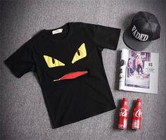 New 2015 Brand Creative Short Sleeve Printed T shirt Men Tops Tees DIY Geek T shirts Monster Eyes Erkek Giyim Men Clothes S-XXL