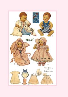 Doll Clothes Patterns, Doll Patterns, Clothing Patterns, Embroidery Transfers, Hand Embroidery Patterns, Family Day Quotes, Baby Bunting Bag, Tiny Tears Doll, Color Copies