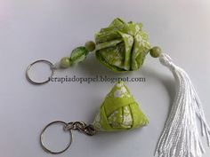 Simple fabric origami (or orinuno?) keychains.