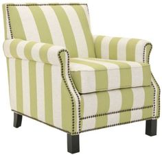 Amazon.com: Safavieh Mercer Collection Charles Green and Beige Striped Linen Club Chair: Home & Kitchen