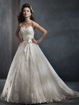 LOVEEEEE THISSSSS Bridal Dress: Alfred Angelo Collection - 2300 Net, Satin, Embroidered Lace
