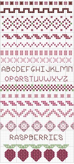 cross stitch samplers antique patterns free | Spring Freebie ~ Raspberry Sampler | Embroiderbee's Primary Hive