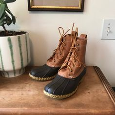 Ll Bean Duck Boots, Bean Boots, Ll Bean Women, Hunting Boots, Vintage Belt Buckles, Tan Leather, I Dress, Beans, Box