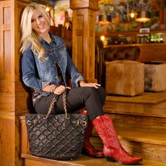 A fun and flirty outfit perfect for any country get-together. Today's Daily Look features black jeggings with a bold pop of red.  http://www.countryoutfitter.com/daily-look-14