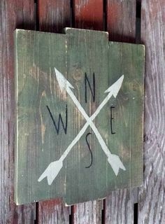 Arrow Decor Rustic Wood Sign Home Decor Compass by RusticLuvDecor