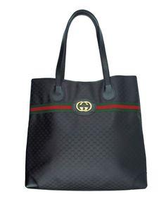 6bb1a43b8 Vintage GUCCI Black Monogram Iconic Stripe Shopper Tote Handbag Bag - RARE  HTF #Gucci #