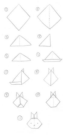 Oragami bunny face Tutorial. Easy enough the kids could fold it.