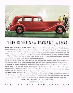 1934 BIG Vintage Packard 1935 Model Car Automobile Art Print Ad