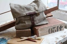 waxed utility canvas envelope. love the horse pin closure