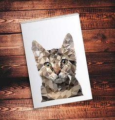 Cat. Polygon. Polygon animal. Vector. Print от VectorGraphicArts
