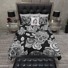 Signature Black Sugar Skull and Rose Duvet Bedding Sets