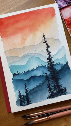 Watercolor Art Lessons, Watercolor Paintings For Beginners, Watercolor Art Diy, Watercolor Landscape Paintings, Watercolor Techniques, Acrylic Paintings, Abstract Landscape, Watercolor Artists, Watercolor Sunset