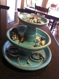 Stacked & glued flower pots for keys, etc @ entry or jewelry in the bedroom...love the distressed finish.
