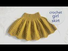 Skater Skirt Pattern, Circle Skirt Pattern, Skirt Pattern Free, Crochet Skirt Pattern, Crochet Skirts, Crochet Toddler, Baby Girl Crochet, Crochet Baby Clothes, Girls Skirt Patterns