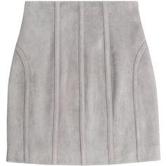 Balmain Suede Mini Skirt (20.263.625 IDR) ❤ liked on Polyvore featuring skirts, mini skirts, bottoms, grey, gray mini skirt, short skirts, short grey skirt, grey suede skirt and panel skirt