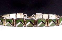 Multi Stone Sterling Silver 925 Artisan Signed Inlaid Designer Link Bracelet #Designer #Link