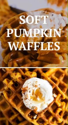 These simple homemade pumpkin waffles definitely need to happen in your waffle maker this autumn! The recipe makes a quick batter from scratch for an easy fall breakfast. Bake to crispy and fluffy perfection in your waffle iron, then load them with your favorite healthy toppings for breakfast (or ice cream for dessert!). The best! | #waffles #breakfast #fall #pumpkin #recipe #easyrecipes #breakfastrecipes #brunch #fallrecipes #pumpkinrecipes #halloween #thanksgiving #backtoschool #autumn Fall Breakfast, Breakfast Bake, Breakfast Recipes, Pumpkin Recipes, Fall Recipes, Dinner Recipes, Pumpkin Spice Waffles, Waffle Maker Recipes, Healthy Waffles