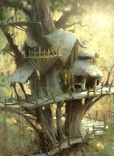 Ideas For Tree House Fantasy Art Fantasy House, Fantasy World, Fantasy Town, Environment Concept Art, Environment Design, Medieval, Art Simple, Fantasy Places, Fantasy Setting