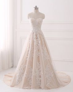 A-line Wedding Dresses,Lace Wedding Dress Champagne,Elegant Bridal Gown,Strapless Wedding Gown - Wishingdress Strapless Lace Wedding Dress, Strapless Prom Dresses, Sweetheart Prom Dress, Long Wedding Dresses, Elegant Wedding Dress, Perfect Wedding Dress, Tulle Wedding, Wedding Gowns, Dream Wedding