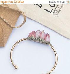 ON SALE Raw Red Peach Crystal Quartz Bracelet - Boho Jewelry - Handmade Bracelet - Crystal Raw Bracelet - Stone Crystal Cuff - Crystal Jewel