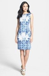 Adrianna Papell Print Stretch Cotton Sheath Dress
