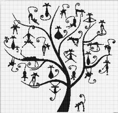 cats in the tree Blackwork Patterns, Blackwork Embroidery, Cross Stitch Embroidery, Cat Cross Stitches, Cross Stitching, Cross Stitch Patterns, Cross Stitch Tree, Cross Stitch Animals, Fair Isle Knitting Patterns