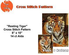 Resting Tiger  Cross Stitch Pattern PDF File by BugzAndOnions