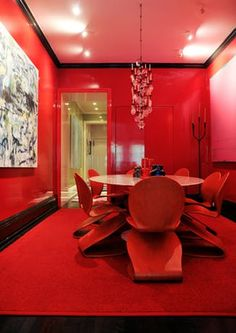 scarlet red dining room walls, table and chairs  contemporary dining room new york city apartment