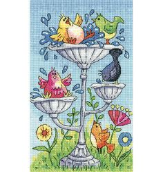 Spark a laugh with this colourful Bird Bath cross stitch kit from Heritage Crafts. A must have kit for any bird lover, this design transforms your feathery friends into characteristic birds that are having a splashing good time in the bird bath.
