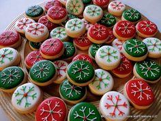 Hand Decorated Sugar Cookies and Handmade Jewelry by Christmas Sugar Cookies, Christmas Desserts, Holiday Treats, Christmas Baking, Christmas Minis, Cookie Icing, Royal Icing Cookies, Cheese Cookies, Mini Cookies
