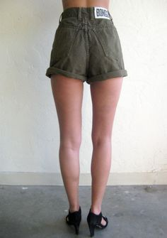 High-Waisted Bongo Olive Green Denim Shorts $63.00