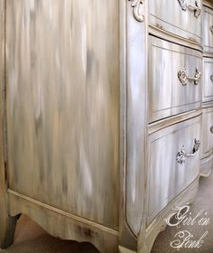 The Mystery Paint Finish by Girl in Pink...using French Linen, Pure White and Country Grey Chalk Paint® Decorative Paint by Annie Sloan