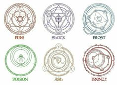 Skyrim magic symbols to watch out for when in the presence of a mage or Druid! These will slow you down Full Metal Alchemist, Symbol Tattoos, Magic Circle Crochet, Magia Elemental, Skyrim Nexus Mods, Magic Theme, Magic Symbols, Magic Ring, Elder Scrolls