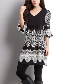 Love this Black Lace Print Empire-Waist Bell Sleeve Dress on #zulily! #zulilyfinds