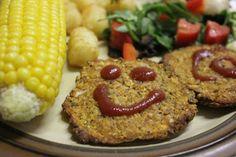 Green Gourmet Giraffe: Sweet potato, chickpea and hemp seed burgers