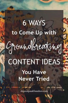 Need original content ideas? Here are six techniques you have never tried. via @veronikapalo