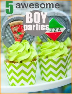 5 Awesome BOY Parties.  Teenage Mutant Ninja Turtles, Super Mario Brothers, Camouflage, Lego and Pirate Party Ideas.