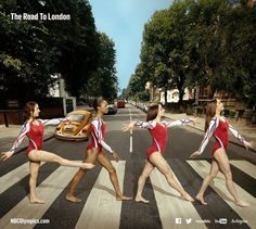 Members of USA Gymnastics cross Abbey Road. — with Aly Raisman, Gabrielle Douglas, Jordyn Wieber and McKayla Maroney.