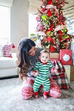 Holiday Pajamas For The Whole Family, family portrait, Christmas photoshoot, winter photoshoot, fami Family Christmas Pictures, Family Christmas Pajamas, Holiday Pajamas, Holiday Pictures, Christmas Baby, Christmas Tree, Family Holiday, Family Photos, Christmas Christmas