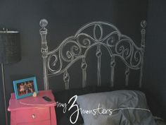 Chalkboard Headboard.  Or you could paint one on the wall instead.  Love it!