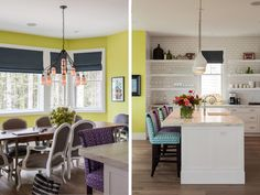 Kitchen, love the white kitchen with the different colorful stool fabric patterns