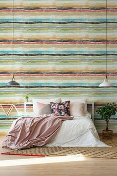 MINDTHEGAP is an eclectic brand that designs and manufactures premium home accessories. Striped Wallpaper, Cool Wallpaper, Pattern Wallpaper, Interior Walls, Interior Design, Mind The Gap, Eclectic Design, Box Design, Stripes Design