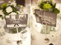 To tie in with our honeymoon, name the tables after historic landmarks of New York City.